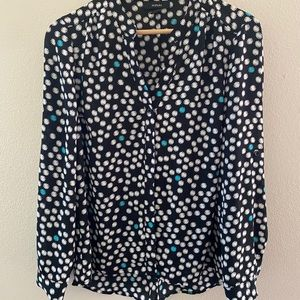 Patterned Long-Sleeve Button-Up Blouse